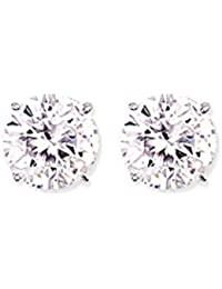 Jewelco London Rhodium Plated Sterling Silver Round Brilliant Cubic Zirconia 4 Claw Solitaire Stud Earrings 11mm