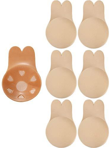 Instant Bruststraffung (Geyoga 3 Paar Damen Lift Nippel Brusthauben Selbstklebende Trägerlose Pasteten Kaninchen Ohr Form Rückenfreie BHS (Beige, L))