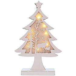 künstliche weihnachtsbäume Holz Mini Weihnachtsbaum mit LED-Licht, Desktop Dekoration Weihnachten Baum Weihnachtsdeko Weihnachtsbaumschmuck DIY Geschenk