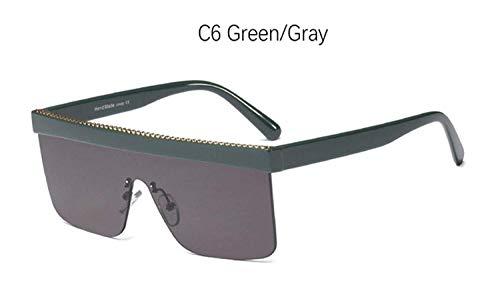 CNSP Brillen,Vintage Sonnenbrillen,Black Big sunglasses man Vintage Retro Flat Top Square Half frame sun glasses for women mirror Designer shades for women,C6 Green Gray