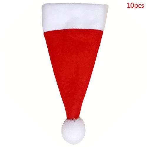 Celan 10 pcs/Lot de Noël en Forme de caches Vaisselle Couverts Fourchette Cuillère Couteau de Poche Sac Housse Décoration de Noël Fête Mini Chapeau de Père Noël Outil de Stockage