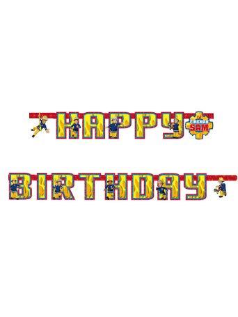 99021801,6m x 13cm Buchstaben-Girlande * FEUERWEHRMANN SAM * für den Kindergeburtstag Deko mit