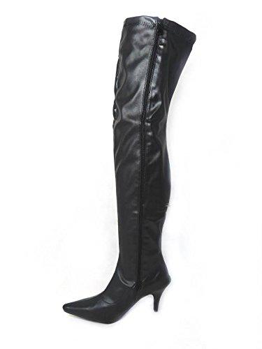 Mesdames Femme Sexy sur le genou cuisse haut talon Stiletto Bottes Stretch Taille 45678Designs Différents Black Matt (Low Heel)