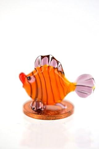 Zierfisch - Korallenfisch Miniatur Fisch aus Glas - Orange mit Streifen und violetten Flossen - Figur aus Glas Mini Rot Orange Gelb Lila - Setzkasten Aquarium Deko
