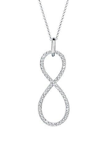 Elli Premium Damen-Kette mit Anhänger Infinity 925 Sterling Silber Swarovski Kristall im Brillantschliff weiß 70 cm - 0111720414_70