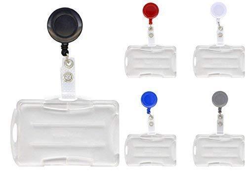 Schmalz 10-pc Forfait Carte D'identité JoJo vinylstrap vinyllasche Materiel renforcé avec INCL. Porte-Cartes pour 2 Format Paysage/Portrait Ouvrir Support télescopique Clé Porte-clés rôle Clé - Noir