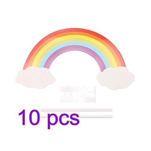 Cake Decorating Supplies - Kawaii Smeil Rainbow Clouds Cupcake Cake Per Flags Wedding Birthday Party Dessert Baking Decoration - Throne Couplers Gold Paste Pans Holder Grass Case Paint Silver T