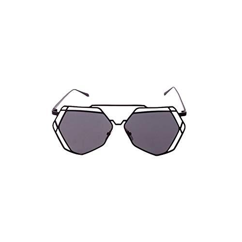 TrifyCore Lunettes de soleil femmes Geometry Design Femmes métalFrame miroir Lunettes de soleil Lunettes Protection UV Cat Eye Noir Lunettes Cadre Gris Lens