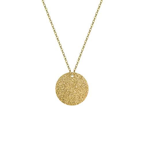 mit Glitzer Funkeln Anhänger aus hochwertigem Edelstahl in Farbe Gold für Frauen runder Schmuck - extrem widerstandsfähiges Material + Gratis Geschenkverpackung ()