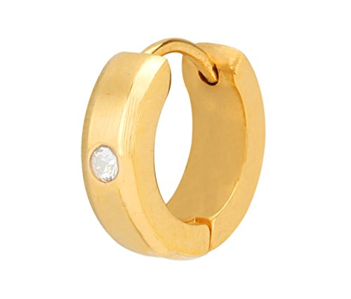 Stylepotion Gift Item Stylish 22K Gold Plated American Diamond Stainless Steel Hoop Bali Studs Earrings For Men And Boys (MSE1ZZZ8)