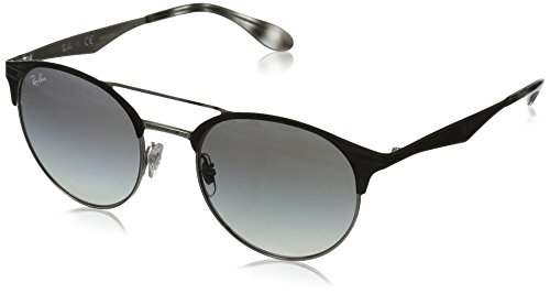 RAYBAN JUNIOR Unisex-Erwachsene Sonnenbrille RB3545, Top Black On Silver/Greygradient, 51