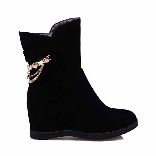 AllhqFashion Damen Hoher Absatz Zweifarbig Rund Zehe Ziehen auf Stiefel mit Schleife, Blau, 38