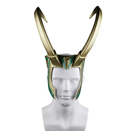 Loki Erwachsene Kostüm Für - QWEASZER Loki Helm Mit Hörnern Thor Ragnarok Loki Maske PVC Für Halloween Bar Performance Maskerade Show Für Erwachsene Frauen Männer Cosplay Kostüm Requisiten,Gold-OneSize