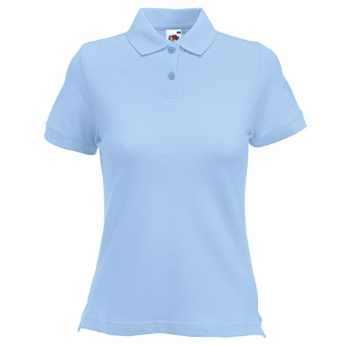 Fruit of the Loom - Polo -  - Uni - Col polo - Manches courtes Femme Bleu - Bleu clair