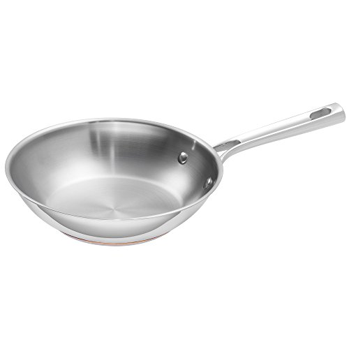 """Emeril Lagasse Stainless Steel Copper Core Fry Pan, 8"""", Silver"""
