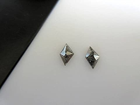 2 Pieces 0.60CTW Matched Pair Grey Black Kite Shaped Salt And Pepper Faceted Rose Cut Diamond DDS492/11