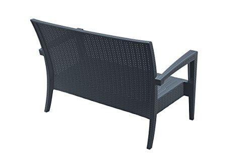 CLP 2er Rattan Garten Lounge-Sofa MIAMI V2, Vollkunststoff in Rattan-Optik, ca. 130 x 80 cm, mit Sitzkissen, stapelbare Sitzbank Dunkelgrau - 4