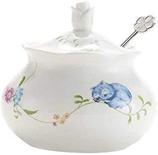 hotoco Zuckerdose, Keramik Zuckerdose mit Deckel und Edelstahl Löffel für Haus und Küche-Flower Design, Weiß blume Flower Sugar Bowl