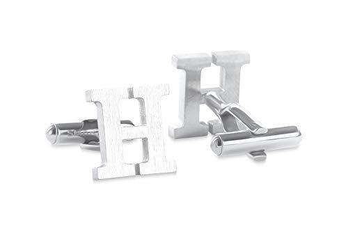 SMARTEON Manschettenknöpfe für Herren | Premium Buchstaben A-Z | Silber & Schwarz aus hochwertigem Edelstahl in mattem Design | Elegante Cufflinks in einem edlen Geschenk-Set (H - silber)