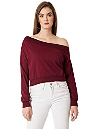 Miss Chase Women's Maroon One Shoulder Sweatshirt