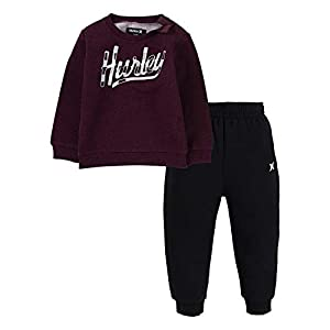 Hurley Baby Boys' Crewneck Sweatshirt and Joggers 2-Piece Outfit Set Casual Pants, Deep Maroon Heather/Black, 3 Years   10