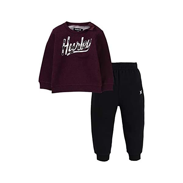 Hurley Baby Boys' Crewneck Sweatshirt and Joggers 2-Piece Outfit Set Casual Pants, Deep Maroon Heather/Black, 3 Years Hurley Pullover sweatshirt & joggers 2-piece set Soft fleece fabric Sweatshirt features a logo graphic at the chest 1