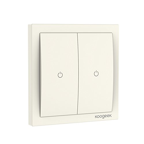 Koogeek Wi-Fi Abilitato Smart Light Switch 220 ~ 240V Funziona con Apple HomeKit Support Telecomando Siri One-way Two Gang Single Pole Wall Switch su 2,4 GHz Network Monitor Consumo di Energia Beige