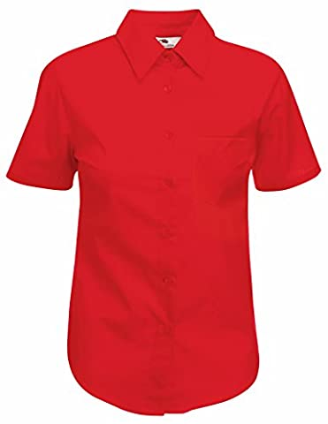 Fruit Of The Loom Lady-Fit Poplin Bluse, kurzarm X-Large,Rot