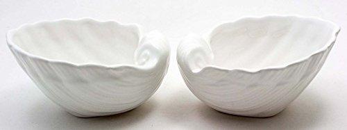 Flair 990382 Bain Accessoires | 2 Déco coquillages Jacob Coquillage en céramique feuilles | 17 x 15 cm Blanc