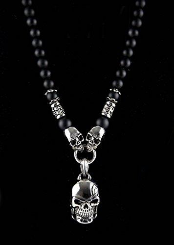 Halbedelstein Totenkopf Skull Halskette Rosenkranz Onyx, Herren Schmuck Männer schwarz Perlenkette Bikerschmuck Skull Edelstahl Gebetskette Geschenk Gothik Matt Lava Religion Handgemacht Handmade