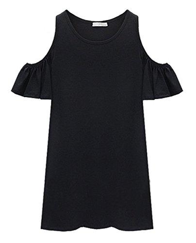 DELEY Mujeres Lindo Mariposa De Manga Strapless Mini Vestido Más El Tamaño De Casual Tops T-Shirt Talla 2XL/44-46 Negro