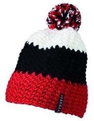 Myrtle Beach Häkel-Mütze mit Bommel dreifarbig, Farbe:red black white