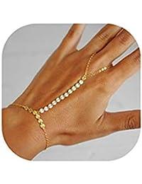 Sklavenarmband Bauchtanz Strass Armband Handkette Ring Handschmuck Orient