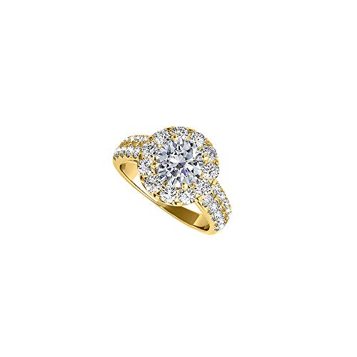 2 CT CZ Prong Set Halo Engagement Rings14K Yellow Gold - Cz 2ct Engagement Ring