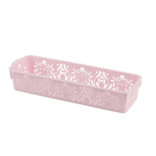 sourcingmap® Büro Plastik Blumenmuster aushöhlen Design Speicher Korb Behälter Halter rosa