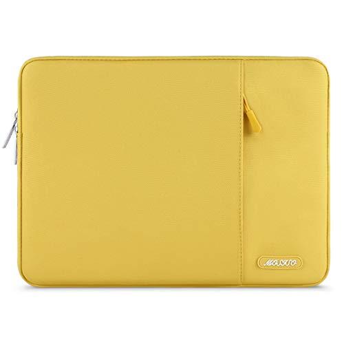 MOSISO Laptop Sleeve Hülle Kompatibel 2019 2018 Neu MacBook Air 13 Zoll A1932, 13 Zoll Neu MacBook Pro A2159 A1989 A1706 A1708, Polyester Vertikale Stil Wasserabweisend Laptoptasche, Gelb