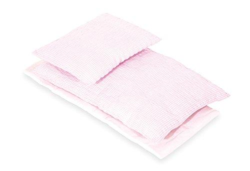 Pinolino 28685-7 Bettzeug für Puppenbetten, 3-teilig, vichy-karo rosa