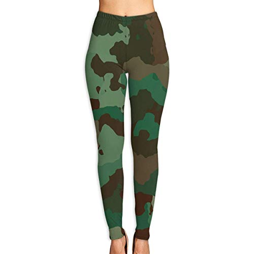 Deglogse Pantaloni da Yoga, Leggings da Allenamento, Green Army Camouflage Womens Full-Length Sports Running Yoga Workout Leggings Pants Stretchable