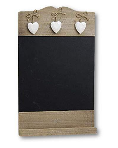 Landhaus Memotafel mit Deko Herzchen zur Beschriftung mit Kreide, 24cm x 38cm Küchentafel Kreidetafel zum Hängen