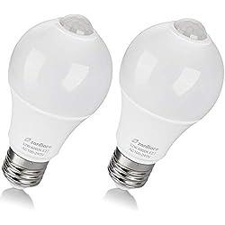 Zanflare - (2 Pack) Bombilla de sensor de movimiento, 12 W, E27, LED, para escaleras, garaje, puerta, jardín, patio, luz blanca fría (6000 K) [Clase de eficiencia energética A+]