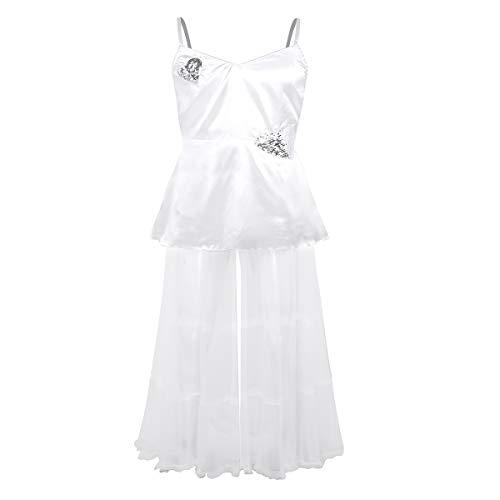 MSemis Herren Kostüm Braut Hochzeit Männerballett Karneval Sissy Dessous Satin Kleid Weiß Tüllrock Männer Cosplay Erotik Kostüm Nachtwäsche Weiß Large