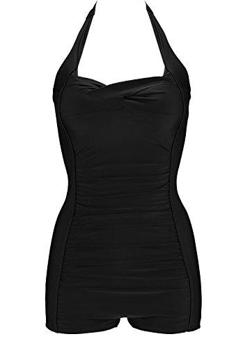 Frauen 50's Vintage Damen Retro Bandeau One Piece Bademode Bikini High Waist Plus Size Badeanzug Bauchweg Black