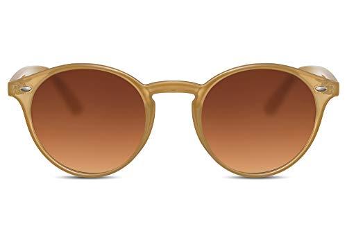 e Rund Hell-Braun Transparent UV-400 Retro Designer-Brille Plastik Damen Herren ()