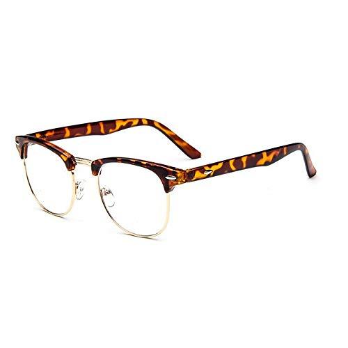 YMTP Klare Linse Augenglasrahmen Männer Frauen Transparent Gefälschte Gase Runde Optische Brillen Nerd Brillen, Leopard