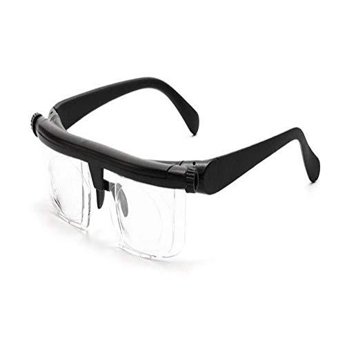 Einstellbare Len Lesebrille Myopiebrille -6D bis + 3D Variable Linsenkorrektur Fernglasvergrößerung (Eye Prescription : Variable Focus, Frame Color : Black)