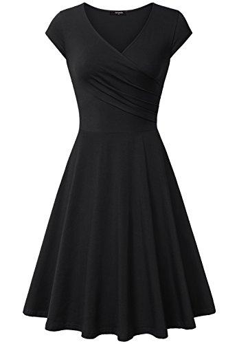 Kleider Für Schwarze Frauen (Lotusmile Damen Wickelkleid A-Line V-Ausschnitt Casual Vintage Elegante Kleider, Schwarz M)