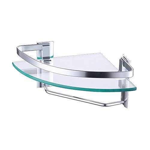 KES 8mm starkes Sicherheitsglas Regal mit festen Aluminium Post, Handtuchhalter für Badezimmer-Gelenkbus, A4123A -