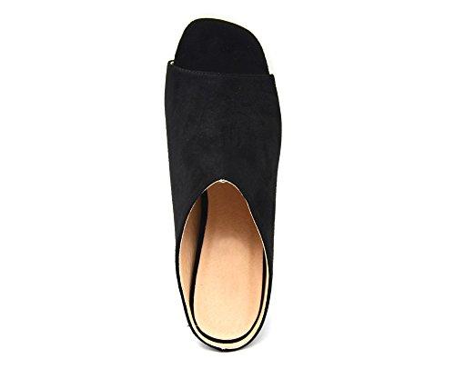 SHT38 * Mules Chaussures à Talon Carré Effet Daim Noir avec Bout Ouvert Peep Toe Noir