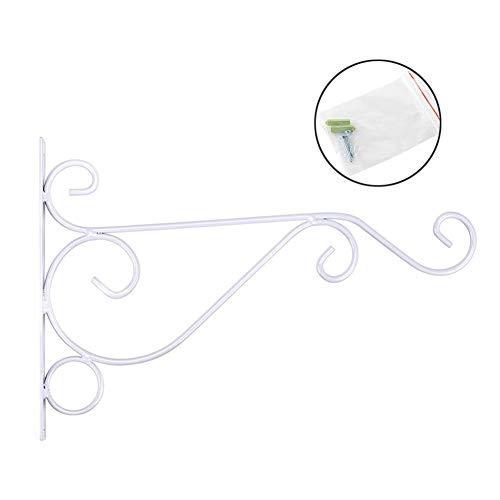 Fgasad - confezione da 2 robuste staffe da appendere per piante, in ferro battuto, ganci da parete per mensole, recinzioni, montaggio a vite contro il braccio della porta, ferro, bianco, 25x21cm