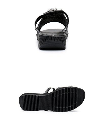 CHAOXIANG Pantofole Da Donna Antiscivolo Ciabatte Piatte Sandali Da Surf Nuova Estate Ciabatte Spiaggia ( Colore : Bianca , dimensioni : EU39/UK6/CN40 ) Nero